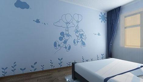 粉蓝色卧室效果图
